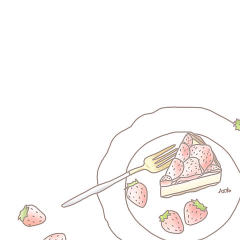 イチゴ イラスト¨̮ (( 保存する前に詳細の画像(プリ画像)
