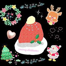 手作り画 サンタクロースの帽子ケーキの画像(サンタクロースに関連した画像)