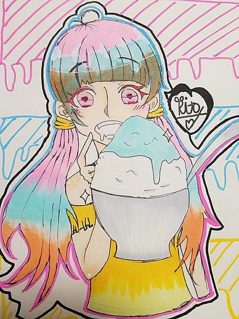 かき氷少女の画像(プリ画像)