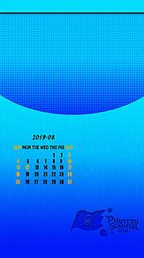 2019年8月  カレンダー  iPhone ロック画面 プリ画像