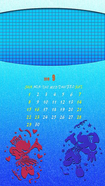 iPhone ロック画面 カレンダー 2019年9月の画像 プリ画像