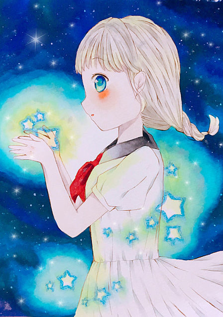 星につつまれた少女の画像 プリ画像