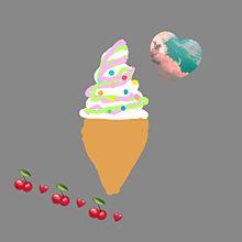 手作り画 チョコプリン ソフトクリーム プリ画像