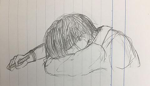 授業中に寝ている男子の画像(プリ画像)