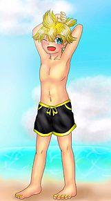 レン君と海!の画像(鏡音レンに関連した画像)