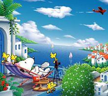 海を眺めるスヌーピーの画像(眺めに関連した画像)