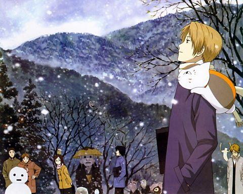 舞い散る雪を見つめるにゃんこ先生と夏目君。