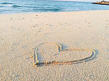 ハート砂浜 プリ画像