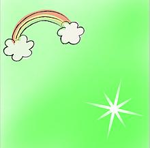 黄緑の背景(虹・星)の画像(黄緑に関連した画像)