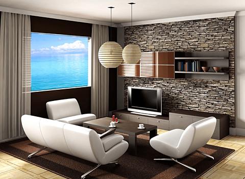 綺麗な海が見える家風景の画像(プリ画像)