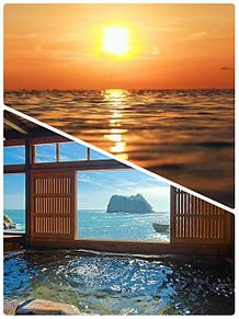 夕陽と温泉 おしゃれの画像(プリ画像)