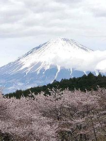 富士山と桜  ハートのいいねを押してねの画像(富士山に関連した画像)