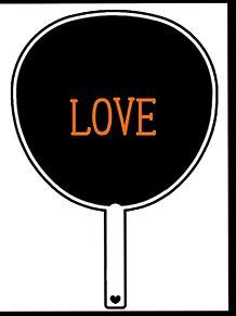 LOVE うちわの画像(オレンジに関連した画像)
