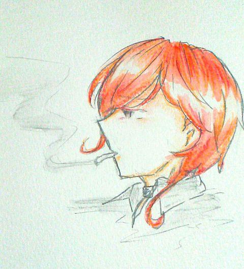 中也と煙草の画像(プリ画像)