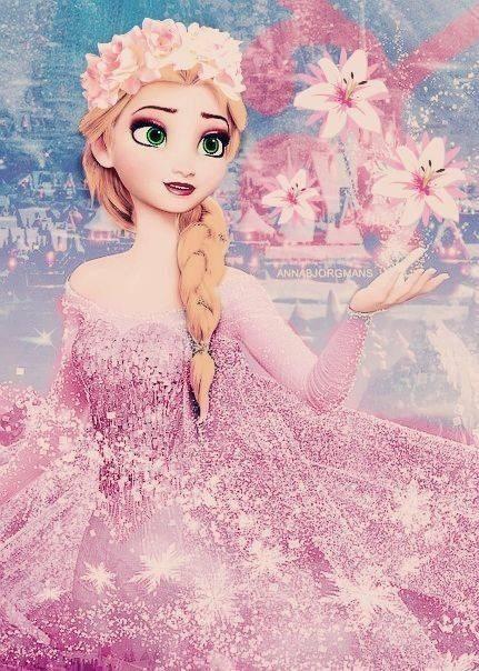華やかなドレスが美しいエルサ壁紙