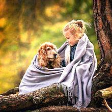 かわいい少女と犬 プリ画像
