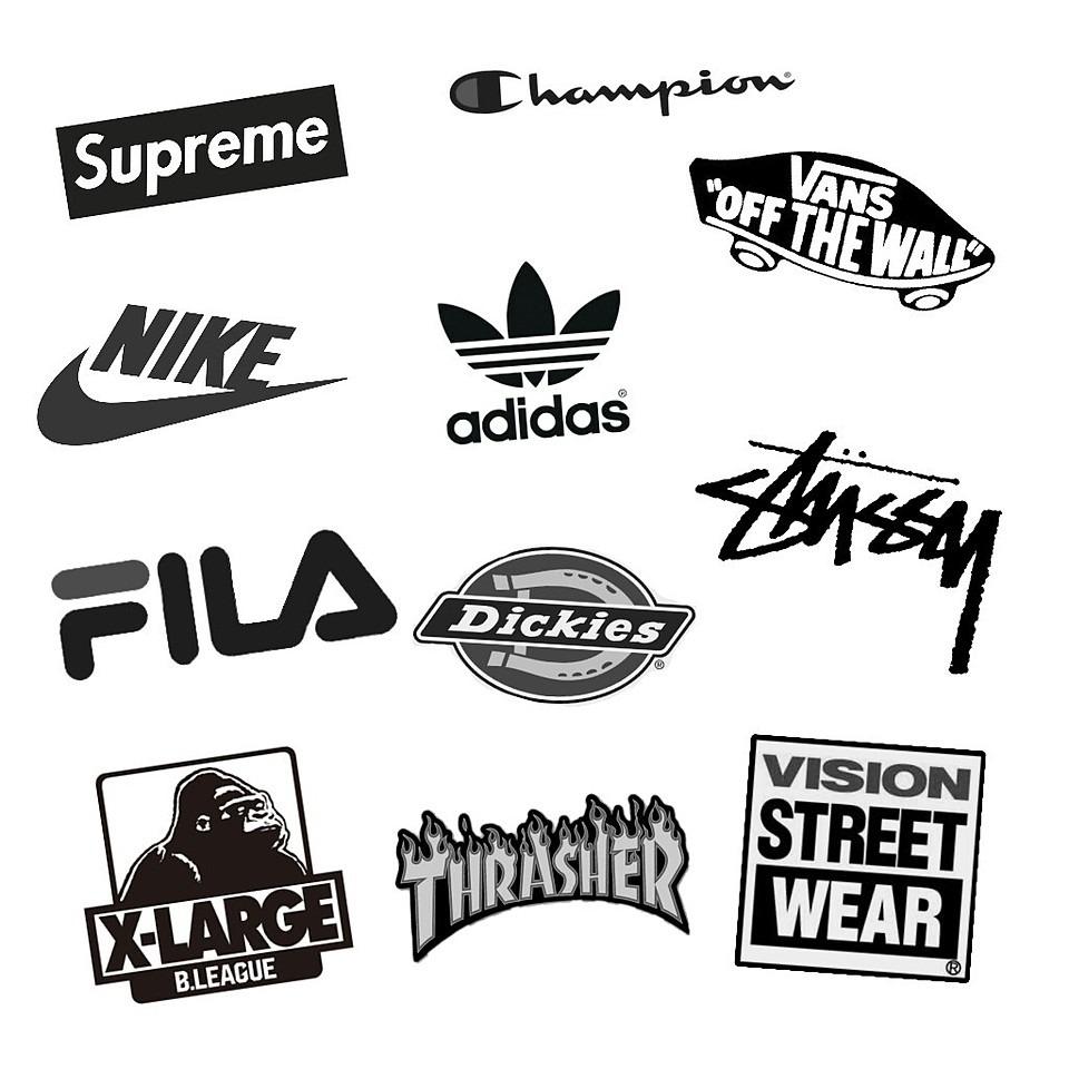 ストリート系ロゴ、白黒