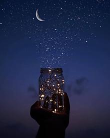 星と月と夜空の画像(月に関連した画像)