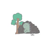 岩に座る恐竜さん プリ画像