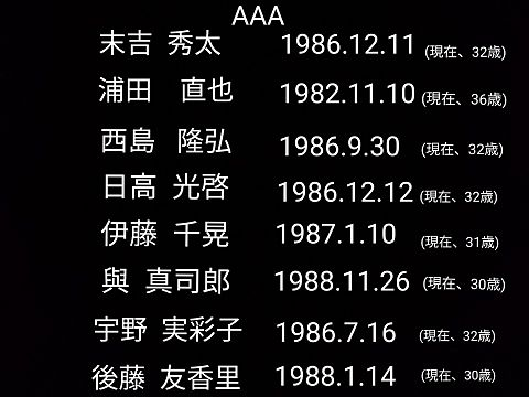 AAA 全員の、生年月日などの画像(プリ画像)