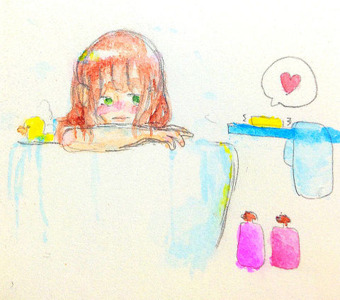 お風呂で携帯が気になっちゃう女子の画像(プリ画像)