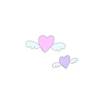 羽つきハートʚ💜ɞ (保存はポチッ)の画像(パステルカラフルピンクに関連した画像)