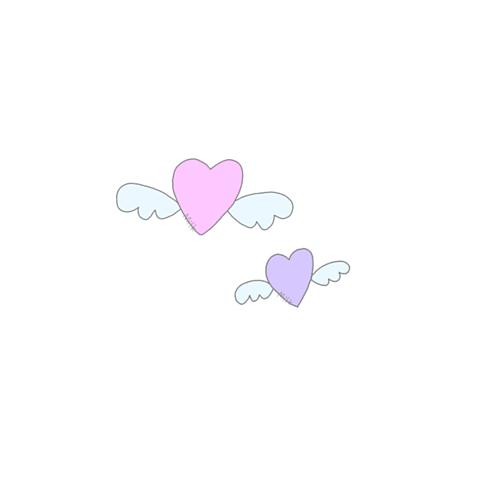 羽つきハートʚ💜ɞ (保存はポチッ)の画像 プリ画像