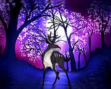 夜桜と鹿の画像(鹿に関連した画像)