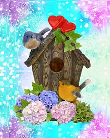 💠紫陽花と小鳥のペア(•ө•)(•ө•) プリ画像