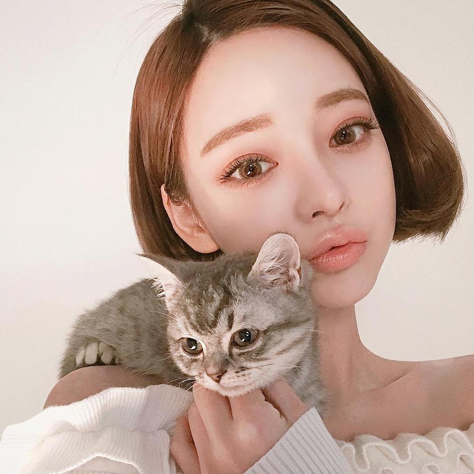 猫と一緒の大人っぽい表情のカン・テリ高画質画像です。