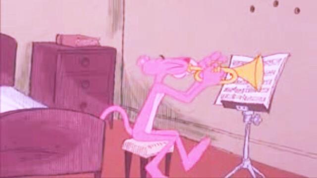 トランペットを吹いているピンクパンサーです。