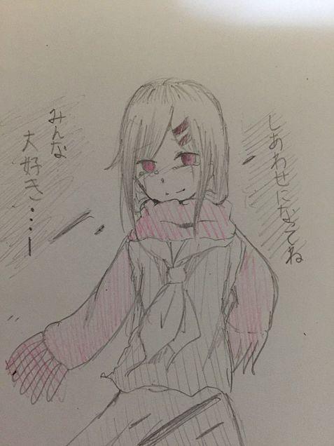赤いマフラーの少女の画像(プリ画像)