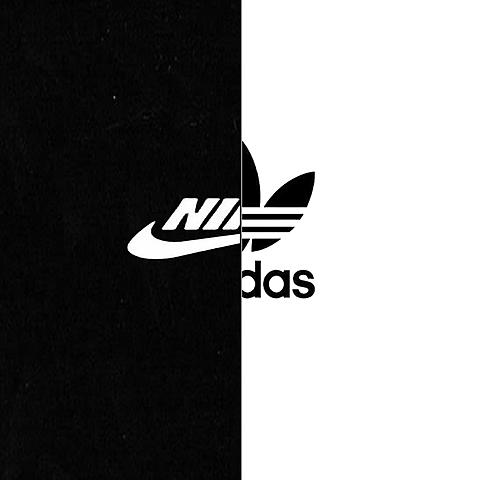 NIKE adidas     黒・白の画像(プリ画像)