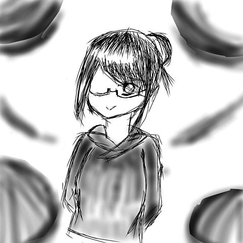 眼鏡×黒パーカーの画像 プリ画像