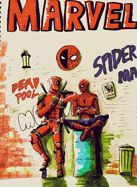 スパイダーマン×デッドプールの画像(プリ画像)