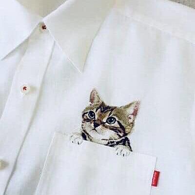 猫刺繍のブラウス おしゃれ  ハートのいいねを押してね!の画像(プリ画像)