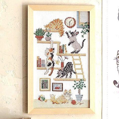 猫の刺繍  おしゃれ  写真右下のハートを押してねの画像 プリ画像