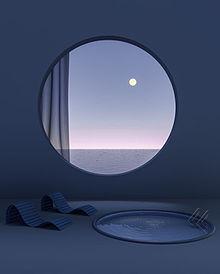 青 背景 夕焼け 月 エモい レトロ Instagram プリ画像