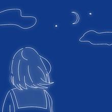 イラスト空星月ふわふわ女の子後ろ姿かわいいシュールの画像(女の子 後ろ姿に関連した画像)
