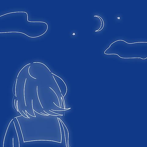 イラスト空星月ふわふわ女の子後ろ姿かわいいシュールの画像(プリ画像)