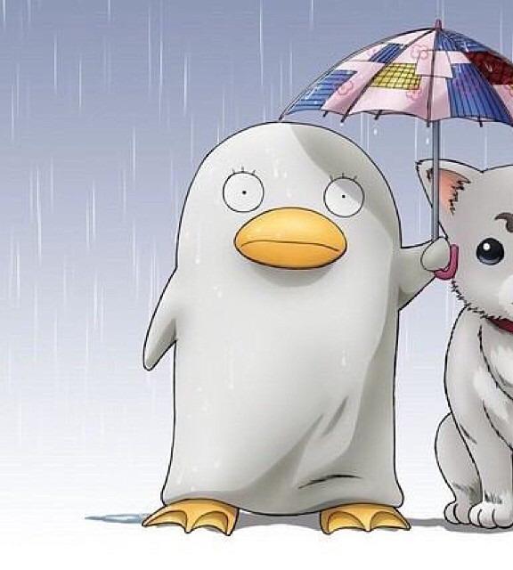 定春と傘をさしているエリザベスです。