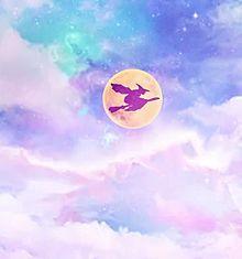 パステルカラーの夜空に魔女 プリ画像