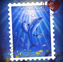イルカで切手風加工してみた(*´ω`*) プリ画像