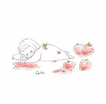 いちごの画像(可愛い 女の子 手書き イラストに関連した画像)