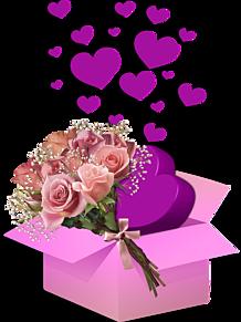 背景透過 ハート 薔薇 ギフトボックス 素材の画像(ギフトに関連した画像)