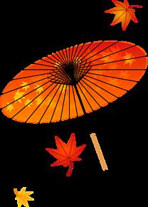 背景透過  紅葉  和傘  番傘の画像(傘に関連した画像)