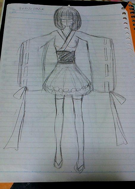 デザイン画『和服ドレスの巫女姫』の画像(プリ画像)
