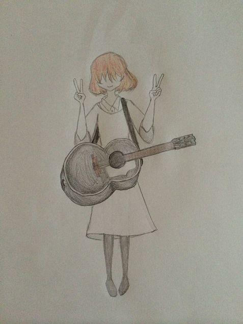 猫系ふんわり女子とギター。の画像(プリ画像)