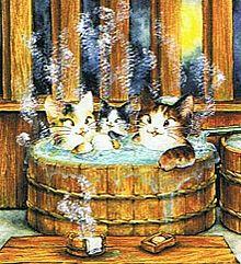 猫もお風呂で温まる  (マイコレはポチ押す)の画像(プリ画像)