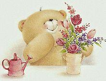 花を活けるテディ ベア  (マイコレはポチ押す)の画像(プリ画像)